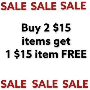 SALE add 3 $15 items to a bundle and get one FREE